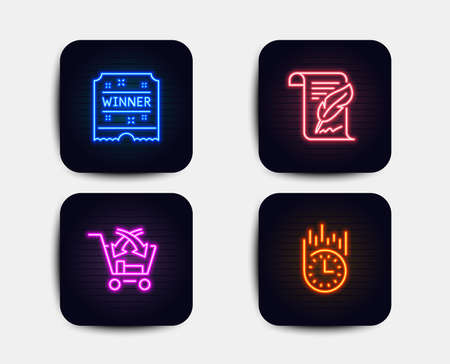 Neon set of Cross sell, Feather and Winner ticket icons. Fast delivery sign. Market retail, Copyright page, Carousels award. Stopwatch. Neon winner ticket icons. Glowing light banners. Vector