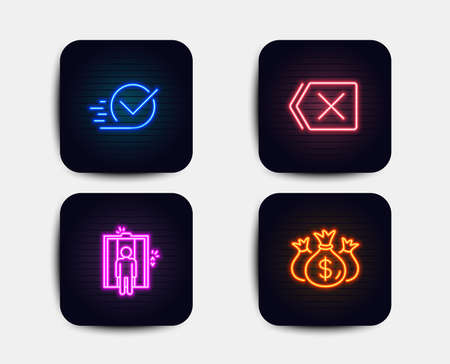 Neon set of Elevator, Checkbox and Remove icons. Check investment sign. Lift, Approved, Delete button. Business report. Neon icons. Glowing light banners. Vector Иллюстрация
