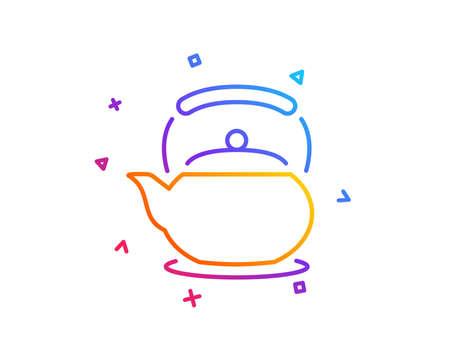 Teapot line icon. Hot drink sign. Fresh beverage in kettle symbol. Gradient line button. Teapot icon design. Colorful geometric shapes. Vector Ilustração