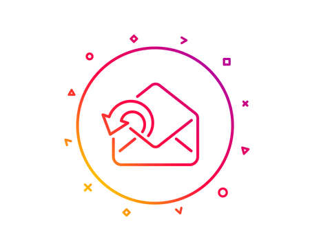Send Mail download line icon. Sent Messages correspondence sign. E-mail symbol. Gradient pattern line button. Send Mail icon design. Geometric shapes. Vector