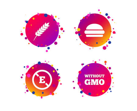 Food additive icon. Hamburger fast food sign. Gluten free and No GMO symbols. Without E acid stabilizers. Gradient circle buttons with icons. Random dots design. Vector Ilustrace