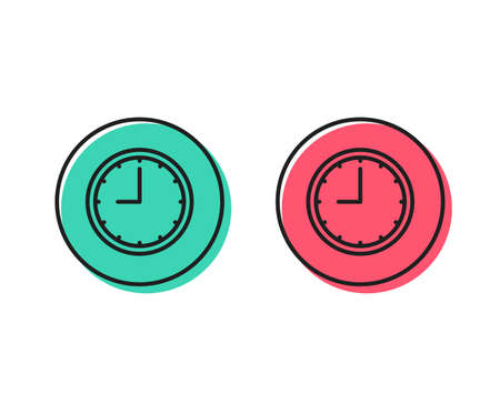 Clock line icon. Time sign. Office Watch or Timer symbol. Positive and negative circle buttons concept. Good or bad symbols. Time Vector Illustration