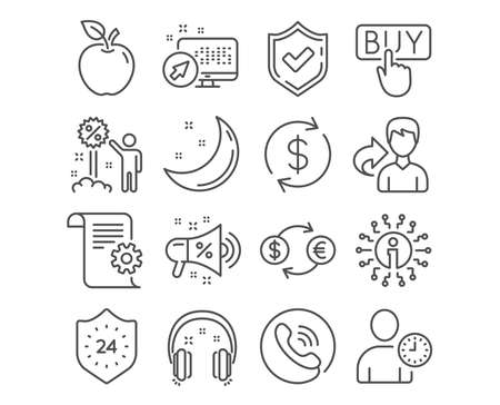 Set of 24 hours, Discount and Headphones icons. Technical documentation, Usd exchange and Sale megaphone signs. Buying, Currency exchange and Time management symbols. Sale vector