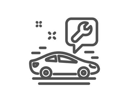 Spanner tool line icon. Car repair service sign. Fix instruments symbol. Quality design flat app element. Editable stroke Car service icon. Vector Ilustração