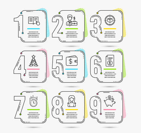 Infographic timeline set of Parcel tracking, Technical info and Christmas tree icons. Businessman case, Woman and Fast delivery signs. Timeline vector