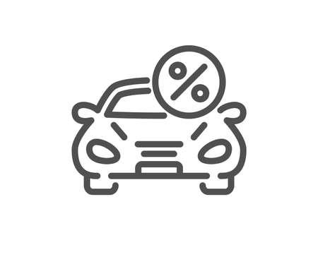 Car leasing percent line icon. Transport loan sign. Credit percentage symbol. Quality design flat app element. Editable stroke Car leasing icon. Vector