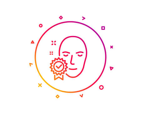 Face verified line icon. Access granted sign. Facial identification success symbol. Gradient pattern line button. Face verified icon design. Geometric shapes. Vector Illustration