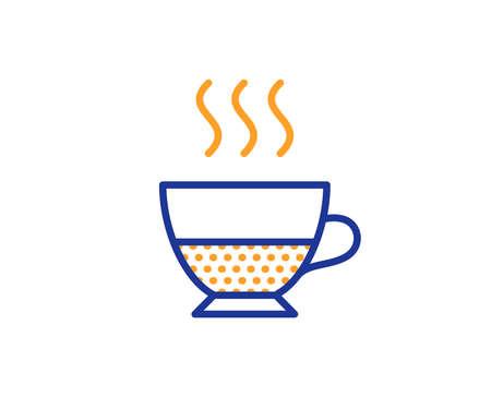 Doppio coffee icon. Hot drink sign. Beverage symbol. Colorful outline concept. Blue and orange thin line color icon. Doppio Vector Иллюстрация