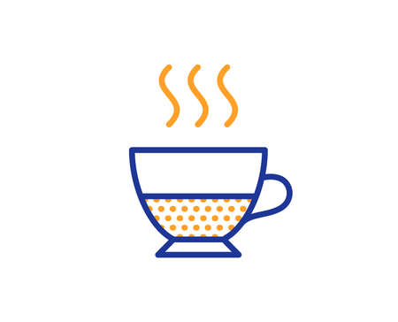 Doppio coffee icon. Hot drink sign. Beverage symbol. Colorful outline concept. Blue and orange thin line color icon. Doppio Vector Illustration