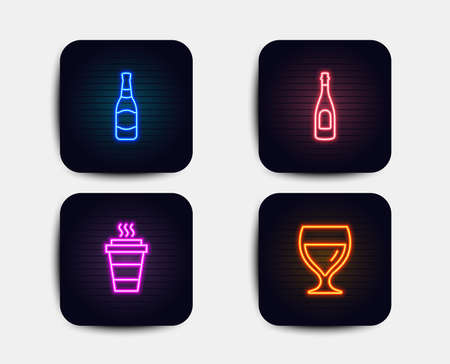 Neon set of Champagne, Beer bottle and Takeaway icons. Wine glass sign. Celebration drink, Brewery, Takeout coffee. Cabernet wineglass. Neon icons. Glowing light banners. Vector
