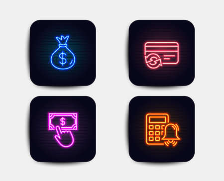 Neon set of Payment click, Money bag and Change card icons. Calculator alarm sign. Financial transfer, Usd currency, Payment method. Accounting. Neon payment icons. Glowing light banners. Vector Foto de archivo - 112071634