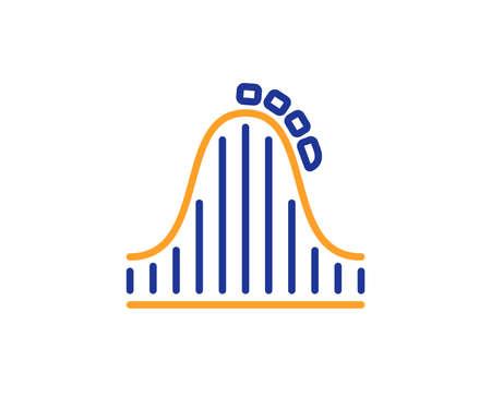 Roller coaster line icon. Amusement park sign. Carousels symbol. Colorful outline concept. Blue and orange thin line color icon. Roller coaster Vector