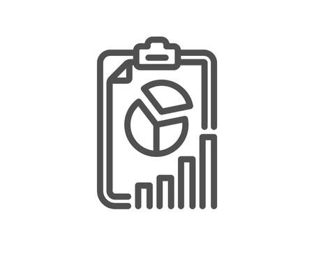 Report line icon. Column graph, pie chart sign. Market analytics symbol. Quality design flat app element. Editable stroke Report icon. Vector  イラスト・ベクター素材