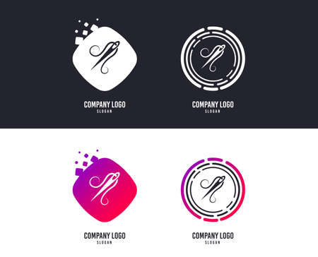 Logotype concept. Needle with thread icon. Tailor symbol. Textile sew up craft sign. Embroidery tool. Logo design. Colorful buttons with icons. Vector Иллюстрация