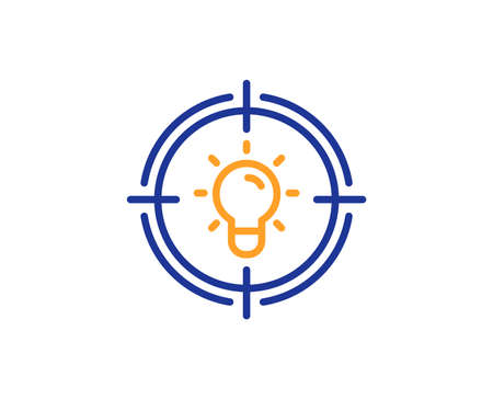 Idea line icon. Light bulb or Lamp in target sign. Creativity, Solution or Thinking symbol. Colorful outline concept. Blue and orange thin line color icon. Idea Vector