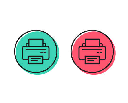 Printer icon. Printout Electronic Device sign. Office equipment symbol. Positive and negative circle buttons concept. Good or bad symbols. Printer Vector 向量圖像