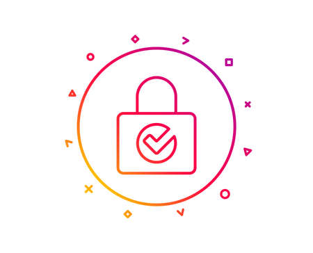 Lock with Check line icon. Private locker sign. Password encryption symbol. Gradient pattern line button. Password encryption icon design. Geometric shapes. Vector
