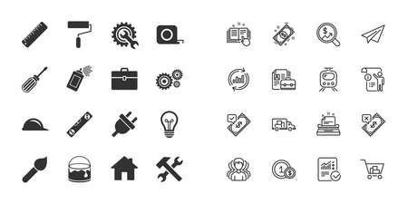 Set of Construction tools, Engineering and Repair icons. Electric plug, Helmet and Screwdriver signs. Lamp, Hammer and Paint symbols. Paper plane, report and shopping cart icons. Engineering vector