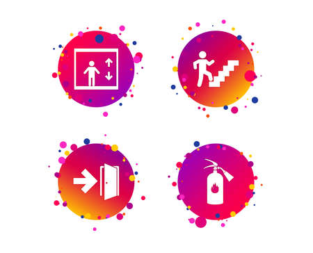 Emergency exit icons. Fire extinguisher sign. Elevator or lift symbol. Fire exit through the stairwell. Gradient circle buttons with icons. Random dots design. Vector