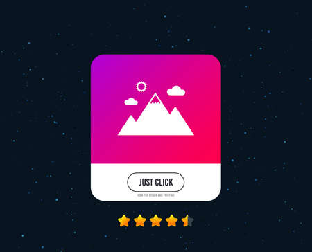 Mountain icon. Mountaineering sport sign. Leadership motivation concept. Web or internet icon design. Rating stars. Just click button. Vector