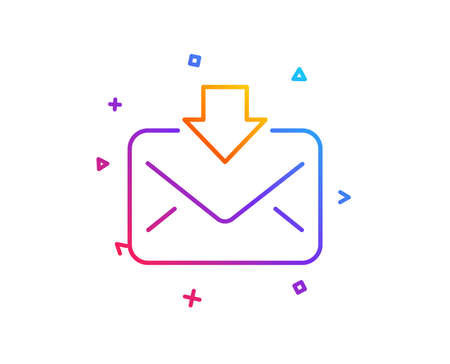Mail download line icon. Incoming Messages correspondence sign. E-mail symbol. Gradient line button. Incoming Mail icon design. Colorful geometric shapes. Vector