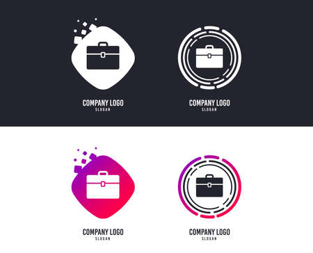 Logotype concept. Case sign icon. Briefcase button. Logo design. Colorful buttons with icons. Business case logo vector