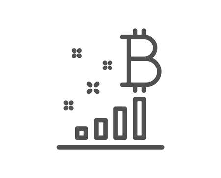 Bitcoin graph line icon. Cryptocurrency analytics sign. Crypto money symbol. Quality design flat app element. Editable stroke Bitcoin graph icon. Vector Ilustracja