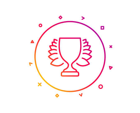 Award cup line icon. Winner Trophy with Laurel wreath symbol. Sports achievement sign. Gradient pattern line button. Winner icon design. Geometric shapes. Vector