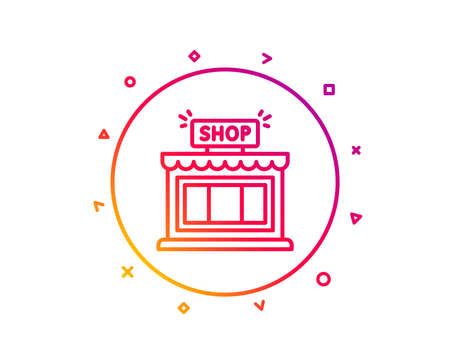 Shop line icon. Store symbol. Shopping building sign. Gradient pattern line button. Shop icon design. Geometric shapes. Vector