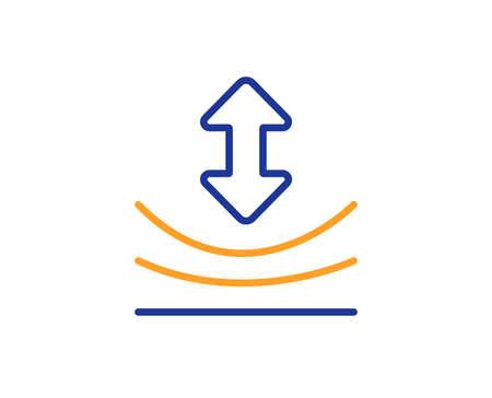 Ikona linii odporności. Znak z elastycznego materiału. Koncepcja kolorowy kontur. Ikona kolor cienka linia niebieski i pomarańczowy. Wektor odporności