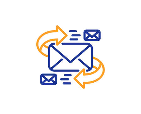 Mail line icon. Communication by letters symbol. E-mail chat sign. Colorful outline concept. Blue and orange thin line color icon. E-Mail Vector