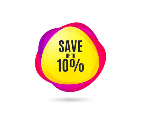 Save up to 10%. Discount Sale offer price sign. Special offer symbol. Gradient sale tag. Abstract shopping banner. Template for design. Vector