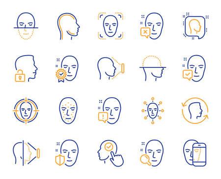 Iconos de línea de reconocimiento facial. Conjunto de iconos del sistema de detección, escaneo y desbloqueo de biometría facial. Escaneo facial, identificación, identificación facial. Persona confirmada, acceso biométrico, desbloqueo de smartphone. Vector Ilustración de vector