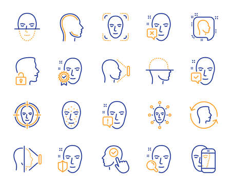 Face recognition line icons. Set of Facial biometrics detection, scanning and unlock system icons. Facial scan, identification, Face id. Confirmed person, Biometrics access, Unlock smartphone. Vector