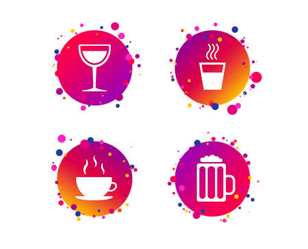 Drinks icons. Coffee cup and glass of beer symbols. Wine glass sign. Gradient circle buttons with coffee icons. Random dots design. Vector Ilustracja