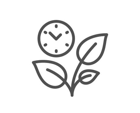Leaves line icon. Grow plant leaf sign. Environmental care symbol. Quality design flat app element. Editable stroke Leaves icon. Vector
