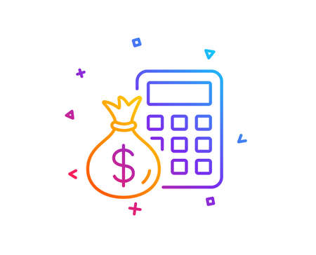 Calculator with money bag line icon. Accounting sign. Calculate finance symbol. Gradient line button. Finance Calculator icon design. Colorful geometric shapes. Vector Zdjęcie Seryjne - 112071718