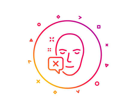 Face declined line icon. Human profile sign. Facial identification error symbol. Gradient pattern line button. Face declined icon design. Geometric shapes. Vector