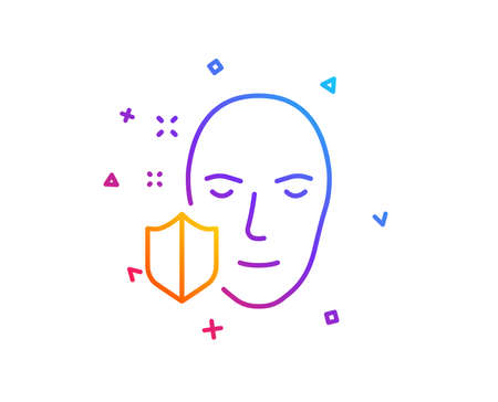 Face detection protected line icon. Secure access sign. Facial identification symbol. Gradient line button. Face protection icon design. Colorful geometric shapes. Vector