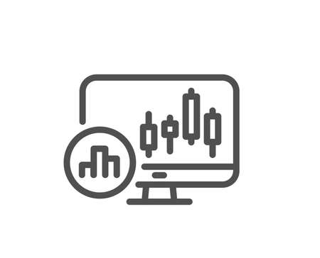 Candlestick chart line icon. Analytics graph sign. Market analytics symbol. Quality design flat app element. Editable stroke Candlestick chart icon. Vector