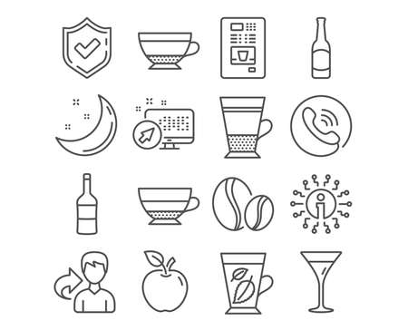 Set of Wine, Beer and Coffee vending icons. Coffee beans, Martini glass and Dry cappuccino signs. Double latte, Mint leaves and Americano symbols. Merlot bottle, Bar drink, Whole bean. Vector Illustration