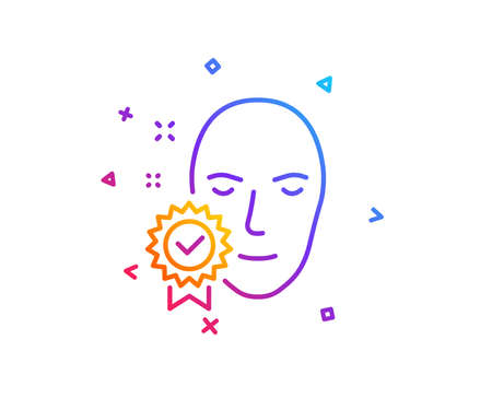 Face verified line icon. Access granted sign. Facial identification success symbol. Gradient line button. Face verified icon design. Colorful geometric shapes. Vector