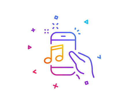 Music in phone line icon. Mobile radio sign. Musical device symbol. Gradient line button. Music phone icon design. Colorful geometric shapes. Vector Ilustração
