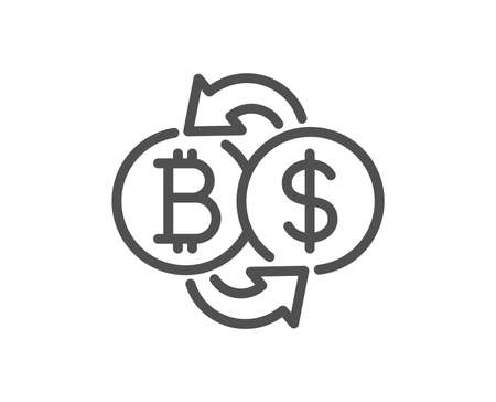Bitcoin exchange line icon. Cryptocurrency coin sign. Dollar money symbol. Quality design flat app element. Editable stroke Bitcoin exchange icon. Vector