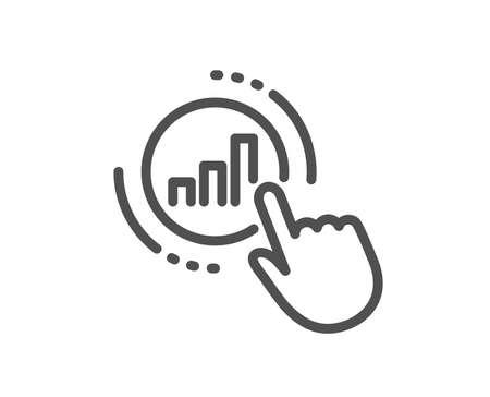 Statistics line icon. Column chart sign. Growth graph diagram symbol. Quality design flat app element. Editable stroke Graph chart icon. Vector