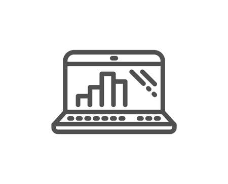 Graph laptop line icon. Column chart sign. Growth diagram symbol. Quality design flat app element. Editable stroke Graph laptop icon. Vector Illustration
