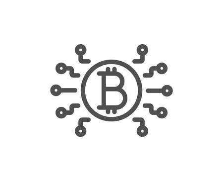 Bitcoin system line icon. Cryptocurrency scheme sign. Crypto money symbol. Quality design flat app element. Editable stroke Bitcoin system icon. Vector