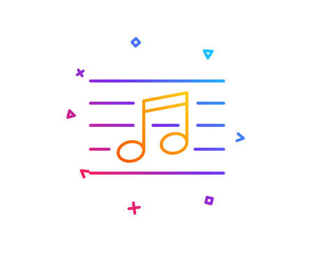 Musical note line icon. Music sign. Gradient line button. Musical note icon design. Colorful geometric shapes. Vector  イラスト・ベクター素材