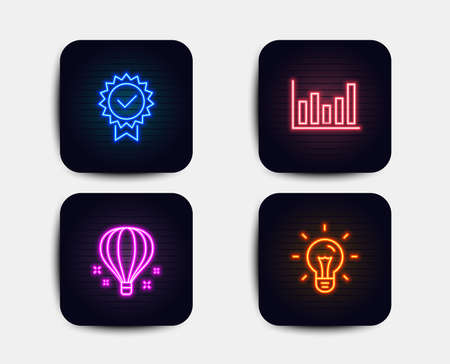 Neon set of Air balloon, Certificate and Column chart icons. Idea sign. Sky travelling, Verified award, Financial graph chart. Light bulb. Neon icons. Glowing light banners. Vector