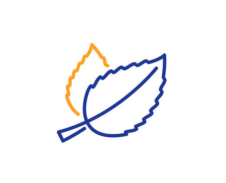 Mint leaves line icon. Herbal leaf sign. Tea with Mentha symbol. Colorful outline concept. Blue and orange thin line color icon. Mint leaves Vector